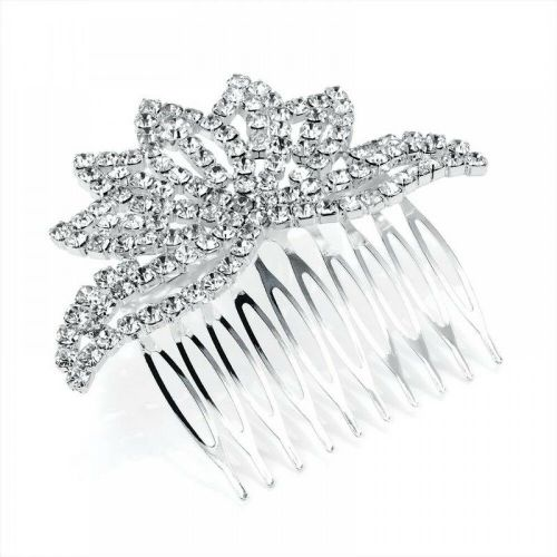 Crystal Crown Design Silver Tone Hair Comb Slide